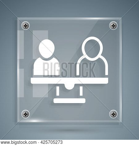 White Gender Equality Icon Isolated On Grey Background. Equal Pay And Opportunity Business Concept.