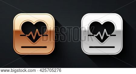 Gold And Silver Heart Rate Icon Isolated On Black Background. Heartbeat Sign. Heart Pulse Icon. Card