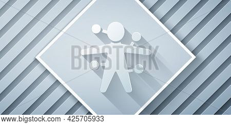 Paper Cut Voodoo Doll Icon Isolated On Grey Background. Paper Art Style. Vector