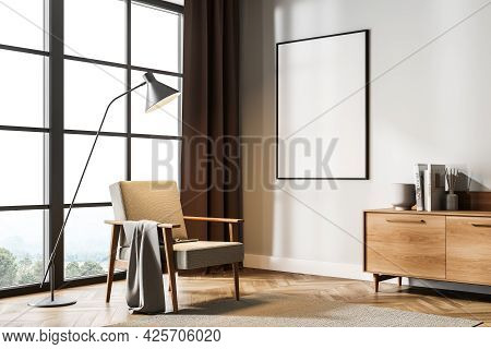Empty Banner On The Wall Of The Living Room Interior With Dark Red Curtains In The Corner, Beige Wal