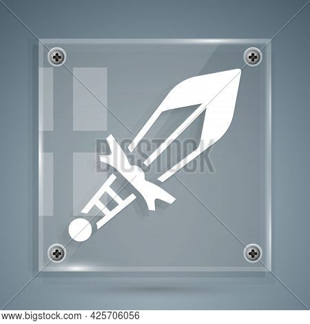 White Medieval Sword Icon Isolated On Grey Background. Medieval Weapon. Square Glass Panels. Vector