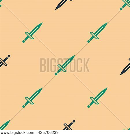 Green And Black Dagger Icon Isolated Seamless Pattern On Beige Background. Knife Icon. Sword With Sh