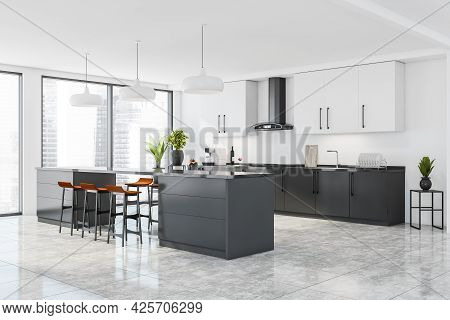 Corner Of Panoramic Kitchen Interior. White Upper Cabinets, Ceilings And Wall. Dark Grey Lower Cabin