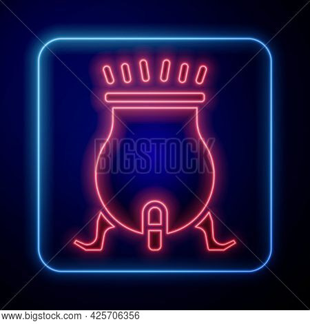 Glowing Neon Witch Cauldron Icon Isolated On Black Background. Happy Halloween Party. Vector
