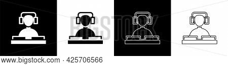 Set Dj Wearing Headphones In Front Of Record Decks Icon Isolated On Black And White Background. Dj P