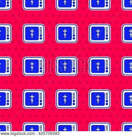 Blue Online Church Pastor Preaching Video Streaming Icon Isolated Seamless Pattern On Red Background