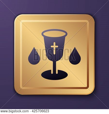 Purple Christian Chalice Icon Isolated On Purple Background. Christianity Icon. Happy Easter. Gold S