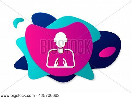 Color Hands In Praying Position Icon Isolated On White Background. Prayer To God With Faith And Hope