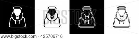 Set Monk Icon Isolated On Black And White Background. Vector