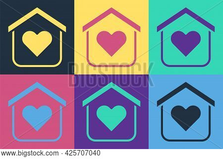 Pop Art Shelter For Homeless Icon Isolated On Color Background. Emergency Housing, Temporary Residen