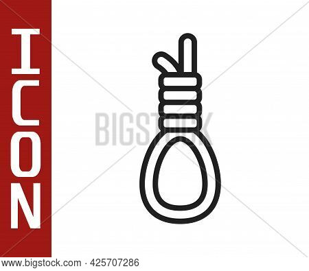 Black Line Gallows Rope Loop Hanging Icon Isolated On White Background. Rope Tied Into Noose. Suicid
