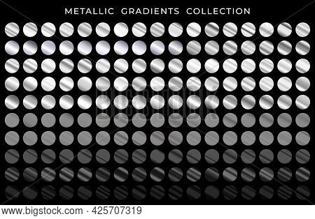 Big Collection Of Silver And Black Metallic Gradients. Silver And Black Texture Gradation Background