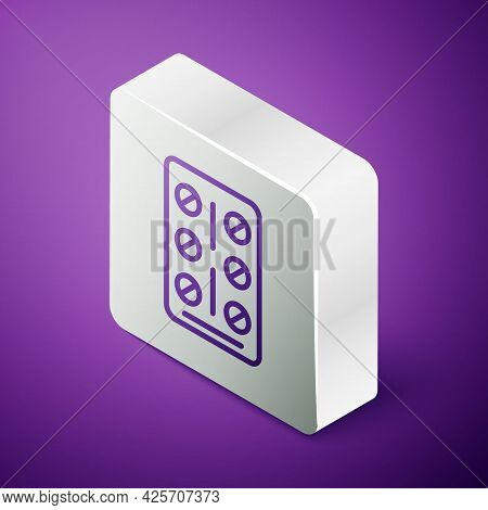 Isometric Line Pills In Blister Pack Icon Isolated On Purple Background. Medical Drug Package For Ta