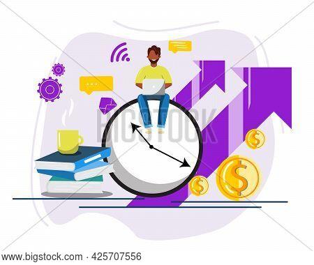 Man Freelancer Sitting On Huge Clock. Working On Laptap. Dark Skin Man Working, Time Management, Dea