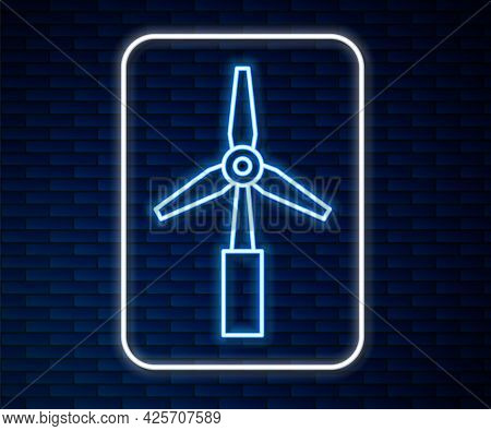 Glowing Neon Line Wind Turbine Icon Isolated On Brick Wall Background. Wind Generator Sign. Windmill