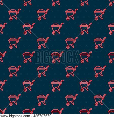 Red Line Wheelbarrow With Dirt Icon Isolated Seamless Pattern On Black Background. Tool Equipment. A