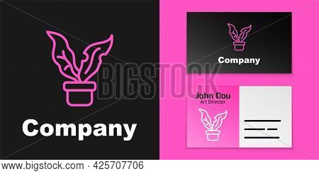 Pink Line Plant In Pot Icon Isolated On Black Background. Plant Growing In A Pot. Potted Plant Sign.