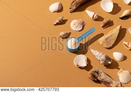 Calcium Or Collagen Powder With Natural Materials, Seashells, Stone And Wood On Beige Background, To