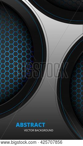 Futuristic Abstract Gray And Blue Vertical Vector Background With Hexagon Carbon Fiber. 3d Dark Abst