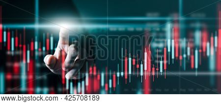 Businessman Trader At Work Technical Price Chart And Red And Green Candlestick Chart Indicator And C