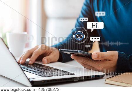 Ai Chatbot Intelligent Digital Customer Service Application Concept, Computer Mobile Application Use