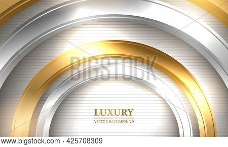 Abstract Luxury Vector Background. Three-dimensional Gold And Silver Circles On Striped White Backgr