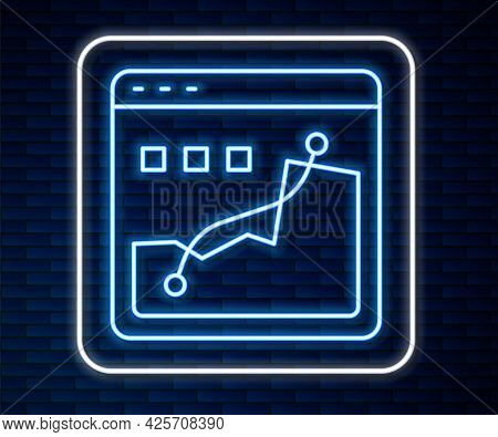 Glowing Neon Line Histogram Graph Photography Icon Isolated On Brick Wall Background. Vector