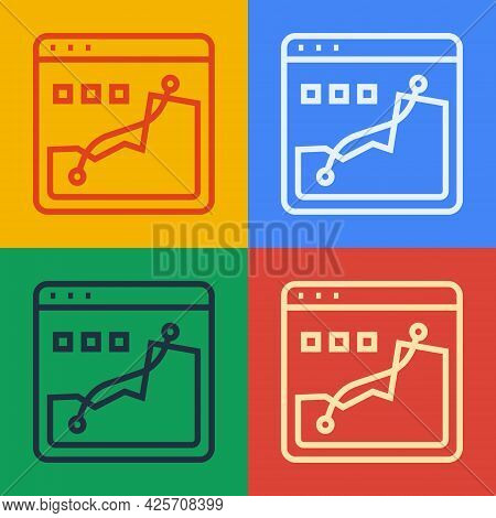 Pop Art Line Histogram Graph Photography Icon Isolated On Color Background. Vector