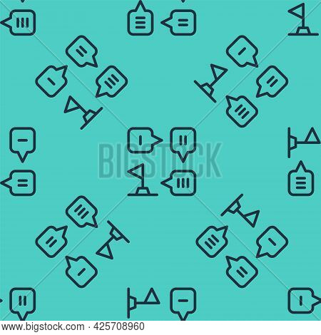 Black Line Planning Strategy Concept Icon Isolated Seamless Pattern On Green Background. Formation A