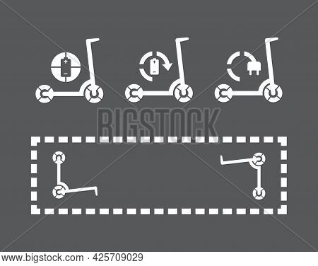 Electrical Scooter Charging Station Zone, Eco Friendly Vehicle Flat Vector Illustration