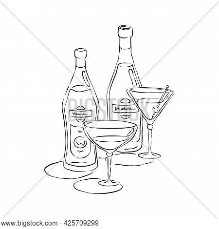 Bottle And Glass Martini And Vermouth Together In Hand Drawn Style. Beverage Outline Icon. Restauran
