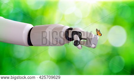 Robot's Arm With Yellow Butterfly On Green Bokeh Background. Artificial Intelligence And Ecosystem C