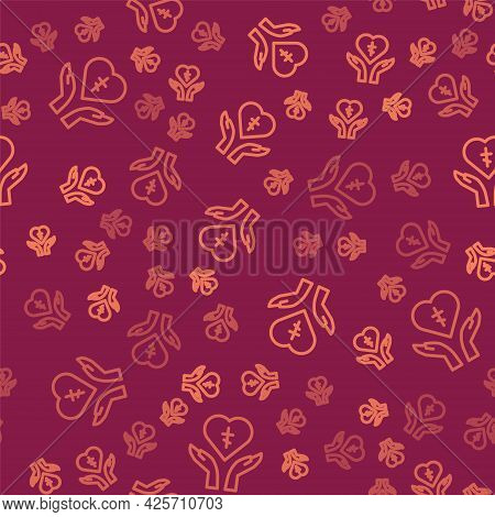 Brown Line Religious Cross In The Heart Inside Icon Isolated Seamless Pattern On Red Background. Lov