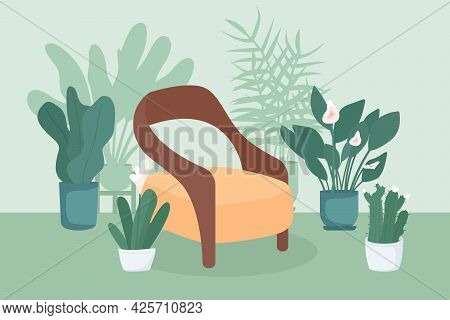 Indoor Garden Flat Color Vector Illustration. Relaxation Spot At Home. Place For Rest Indoors. Chair