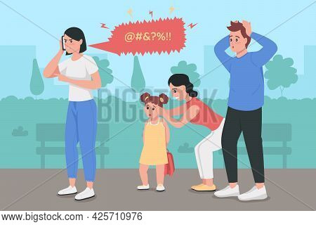 Anger Management Issues Flat Color Vector Illustration. Woman Swearing On Phone Call. Shocked Man In