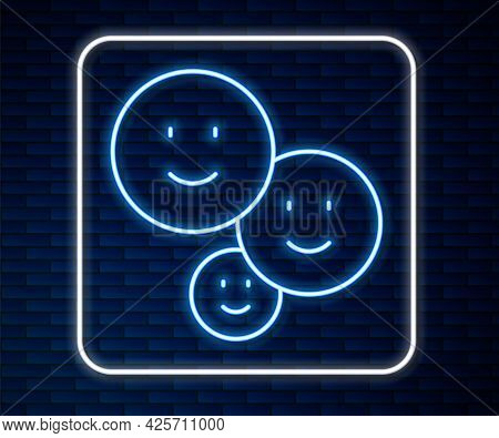 Glowing Neon Line Happy Friendship Day Icon Isolated On Brick Wall Background. Everlasting Friendshi