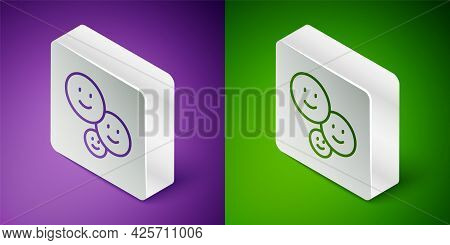 Isometric Line Happy Friendship Day Icon Isolated On Purple And Green Background. Everlasting Friend