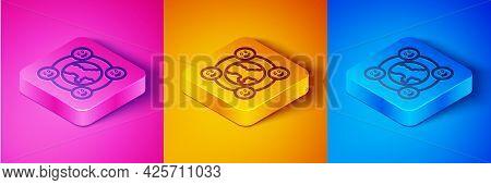 Isometric Line International Community Icon Isolated On Pink And Orange, Blue Background. Worldwide