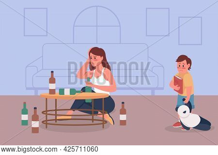 Alcoholism In Family Flat Color Vector Illustration. Alcoholic Woman Sit With Bottles. Bad Habit Dam