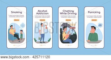 Unhealthy Habits Onboarding Mobile App Screen Flat Vector Template. Alcohol Addiction. Walkthrough W