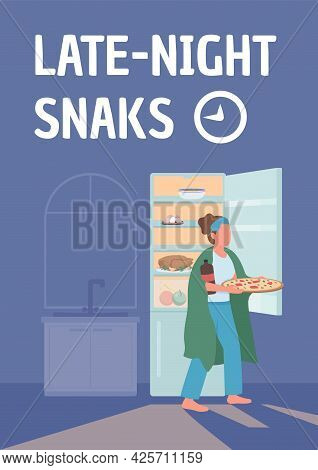 Late Night Snacks Poster Flat Vector Template. Stress Eating. Bad Habit. Brochure, Booklet One Page