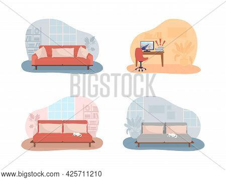 Living Room And Bedroom 2d Vector Isolated Illustration. Sofa With Cushions. Desk With Computer Scre