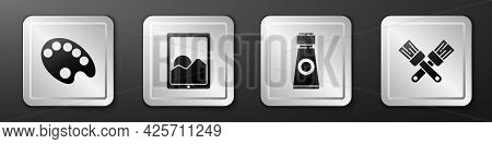 Set Palette, Graphic Tablet, Tube With Paint Palette And Crossed Paint Brush Icon. Silver Square But