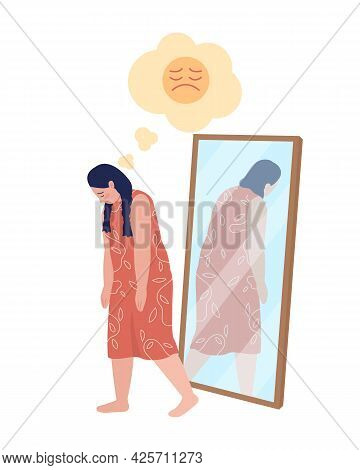 Obese Teen Sad Girl Semi Flat Color Vector Character. Walking Figure. Full Body Person On White. Tee