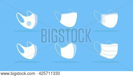 Three Quarter View Face Mask White Mockup. Cloth, Surgical Mask. Filtering Respirator. Covering Nose