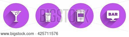 Set Martini Glass, Cocktail, Coffee Cup To Go And Alcohol Bar Location Icon With Long Shadow. Vector