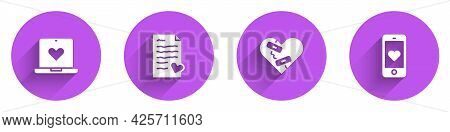 Set Dating App Online, Envelope With Valentine Heart, Healed Broken And Mobile Icon With Long Shadow