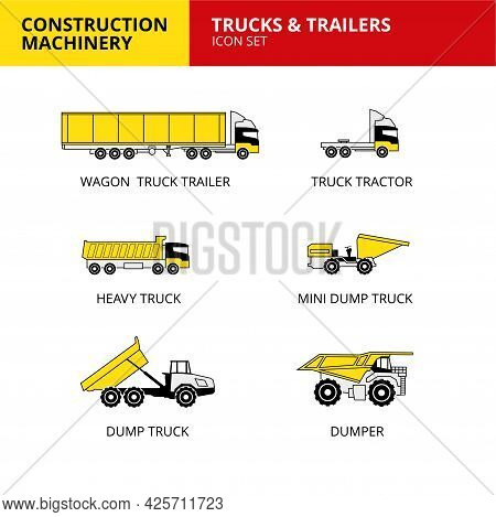 Trucks And Trailers Vehicle Construction Machinery Transport Icons Set