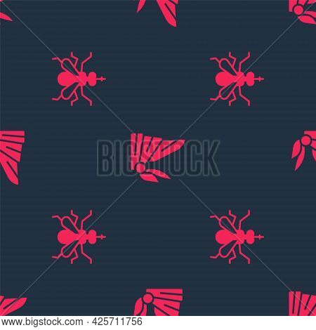 Set Mosquito And Bandana Or Biker Scarf On Seamless Pattern. Vector