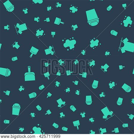 Set Water Spill, Trash Can, Dustpan And Drying Clothes On Seamless Pattern. Vector